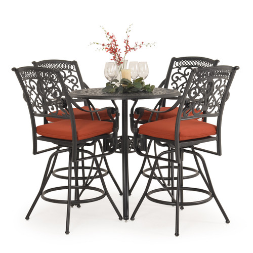 Charleston Outdoor Cast Aluminum 5 Piece Bar Set