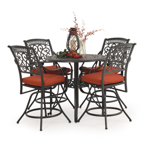 Charleston Outdoor Cast Aluminum 5 Piece Counter Set