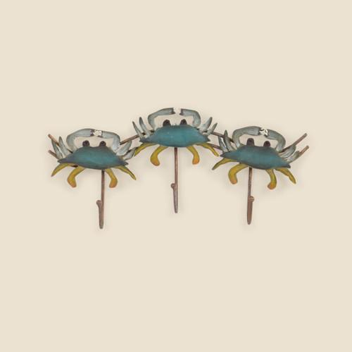 Blue Crab Triple Hook Wall Hanging