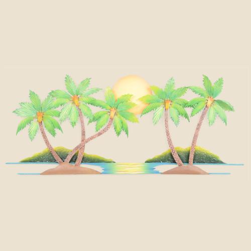 Five Palm Trees Metal Wall Art