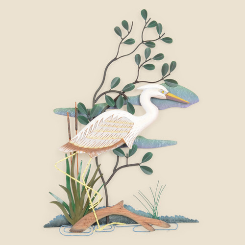 White Heron  Right Facing Metal Wall Art