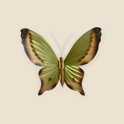 Large Green, Yellow and Brown Butterfly Wall Art