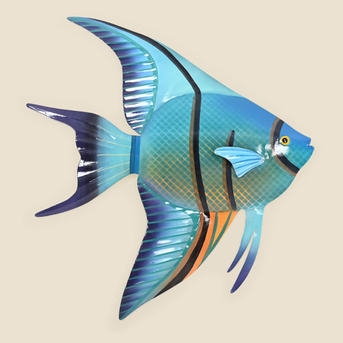 Blue Angelfish Metal Wall Art, Right Facing