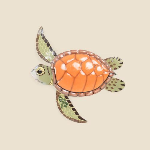 Swimming Sea Turtle Metal Wall Art