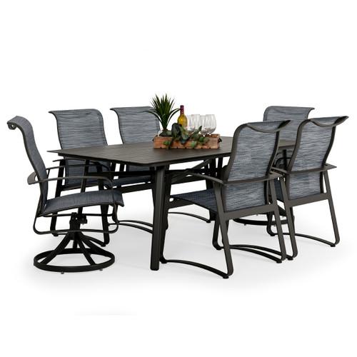 Cabana Outdoor 7 Piece Sling Dining Set with Aluminum Top