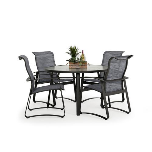 Cabana Outdoor 5 Piece Sling Dining Set with Glass Top