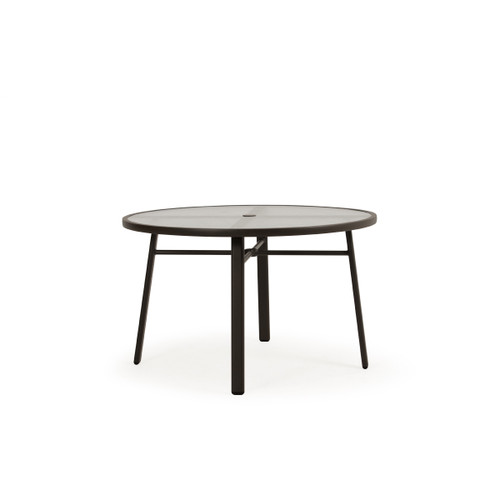 Cabana Outdoor Round Glass Top Dining Table in Charcoal