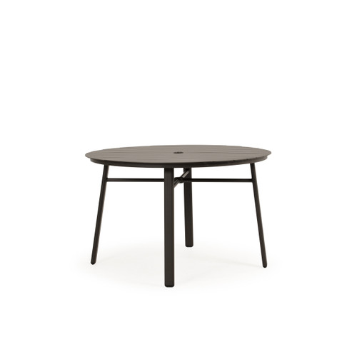 Cabana Outdoor Round Aluminum Slat Top Dining Table in Charcoal