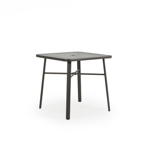 Cabana Outdoor Square Glass Top Counter Height Table in Charcoal