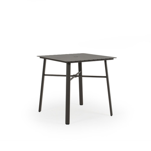 Cabana Outdoor Square Aluminum Slat Top Counter Height Table in Charcoal