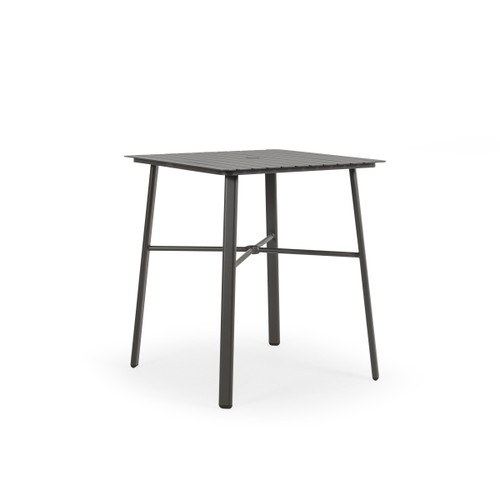 Cabana Outdoor Square Aluminum Slat Top Bar Height Table in Charcoal