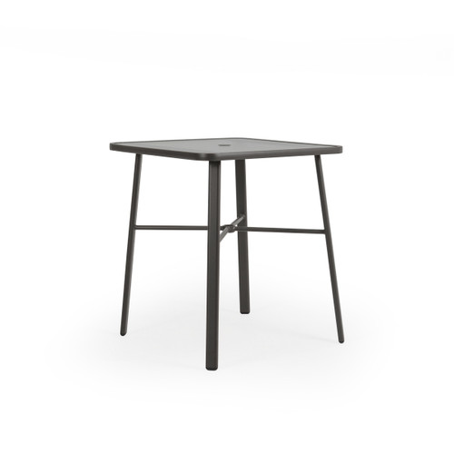 Cabana Outdoor Square Glass Top Bar Height Table in Charcoal