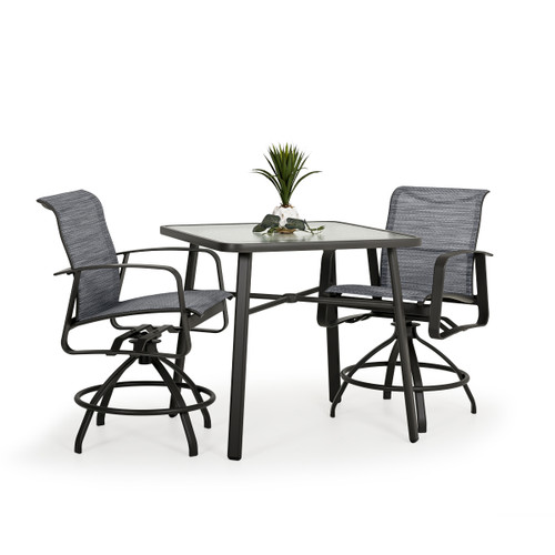 Cabana Outdoor 3 Piece Sling Counter Set with Glass Top