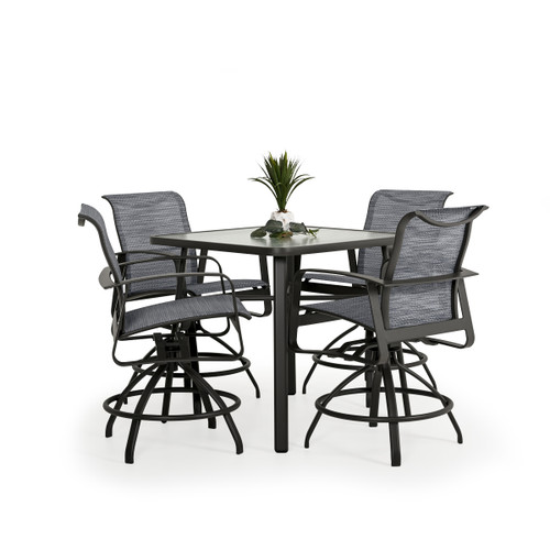 Cabana Outdoor 5 Piece Sling Counter Set with Glass Top