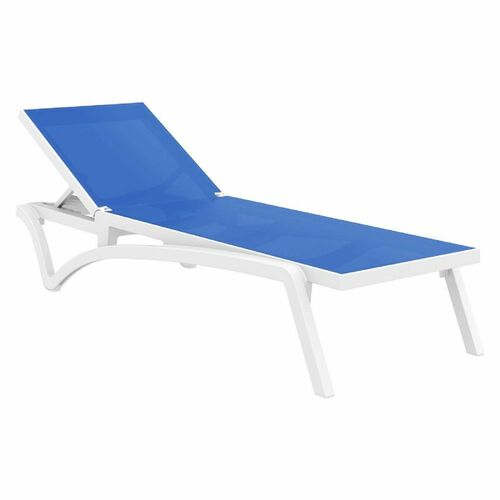 Pacifica Sling Chaise Lounge in White and Blue