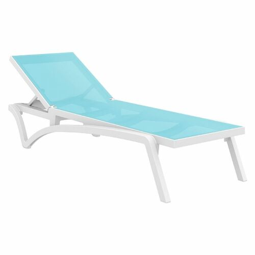 Pacifica Sling Chaise Lounge in White and turquoise
