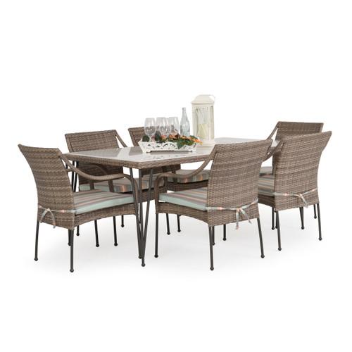 Garden Terrace Outdoor Wicker 7 Piece Dining Set with Stone Top