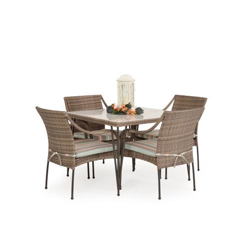 Garden Terrace Outdoor Wicker 5 Piece Dining Set with Stone Top