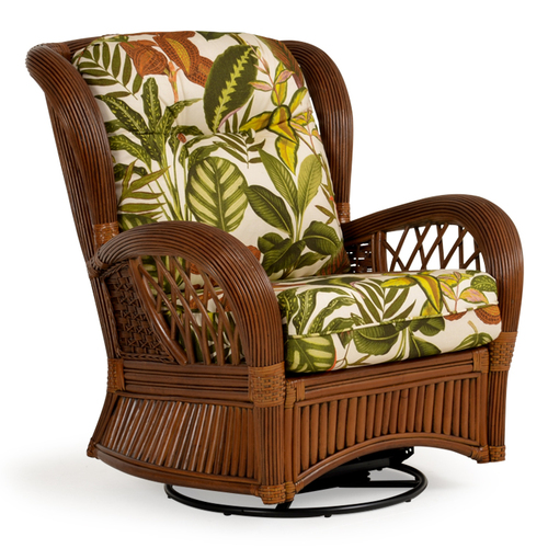 Island Way Indoor Rattan High Back Swivel Glider