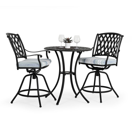 Trellis Outdoor Cast Aluminum 3 Piece Counter Set