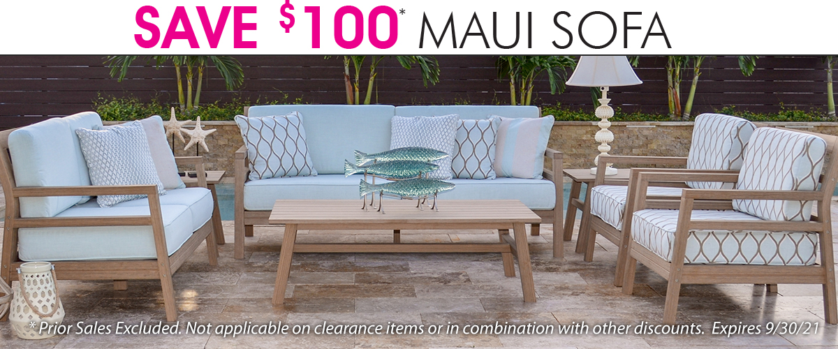 SAVE $100 ON MAUI SOFAS