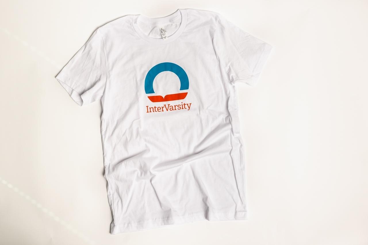 InterVarsity T-shirt - White with Revival Orange & Missional Blue Logo