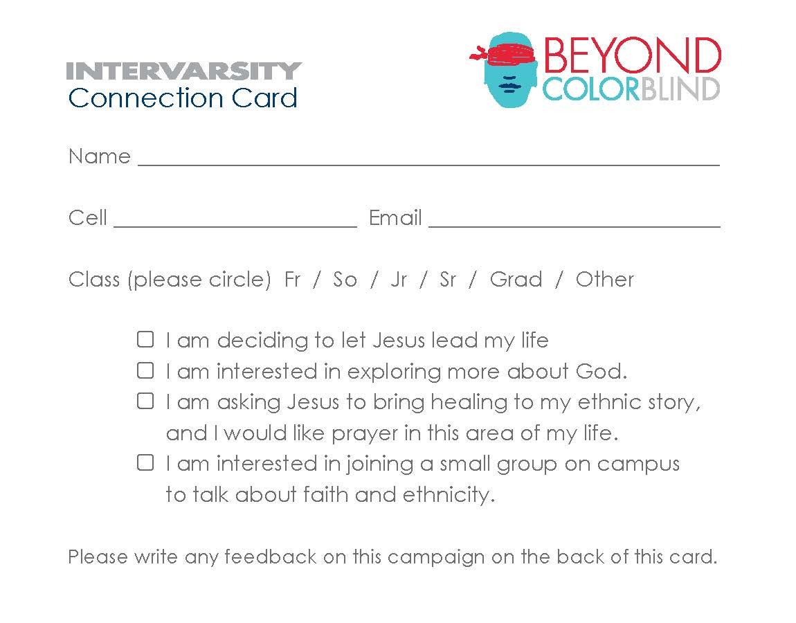 Beyond Colorblind Response Card (bundle of 50)