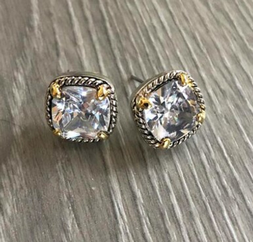 Square Crystal Stud Earrings with Gold And Rope Accents