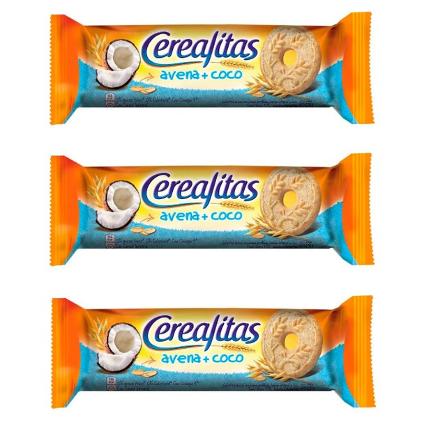 Cerealitas Integrales con Avena y Coco Whole Wheat Sweet Cookies with Oats & Coconut, 231 g / 8.14 oz (pack of 3)