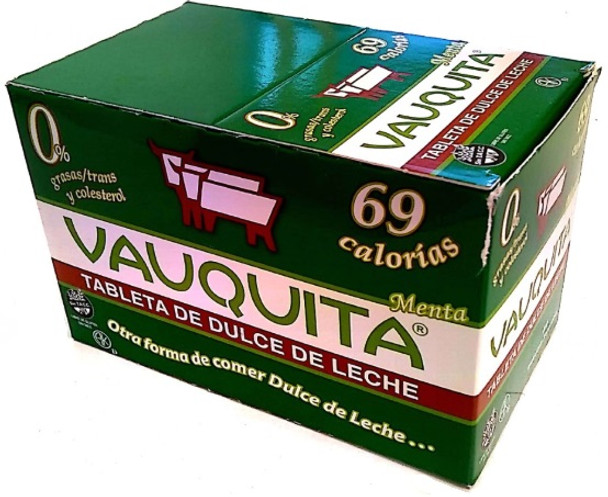 Vauquita Con Menta Classic Dulce de Leche Bar With Mint (box of 18 units)