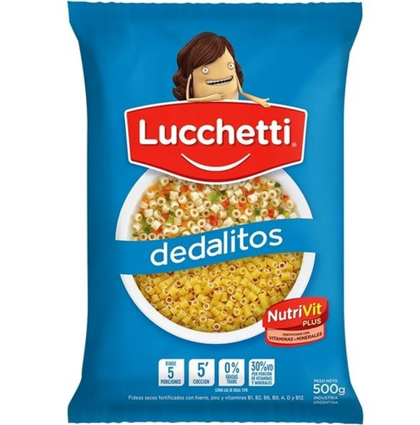 Fideos Lucchetti Dedalitos Mini Noodles Perfect For Noodle Soup Argentinian Style, 500 g / 1.1 lb (pack of 3)