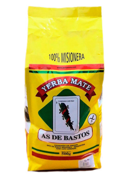 As de Bastos Yerba Mate con Palo Yellow Bag Mate Estacionada 100% Misionera, 500 g / 1.1 lb