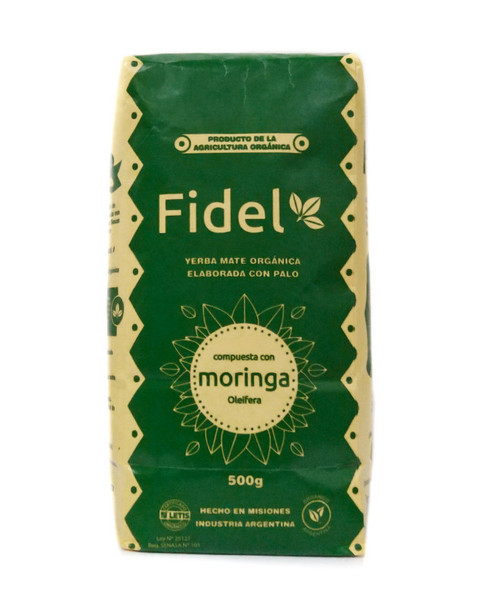 Fidel Organic LETIS Certified Yerba Mate with Moringa Oleifera, 500 g / 1.1 lb
