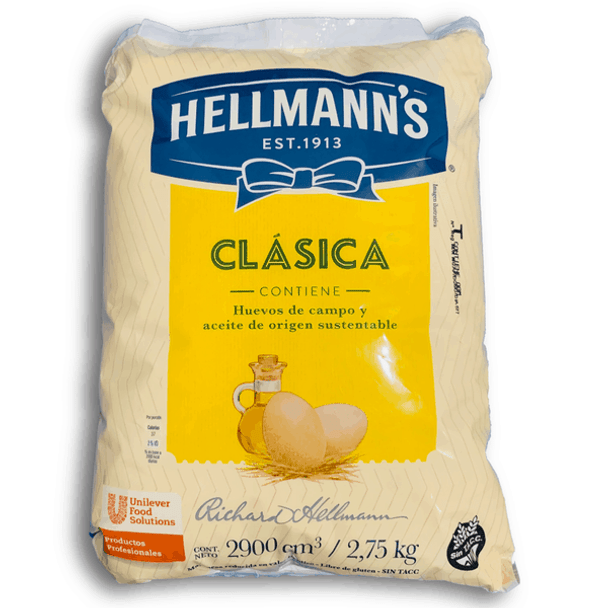 Hellmann's Mayonnaise Classic Argentinian Style Mayonesa Extra Large Bag, 2.75 kg / 6.06 lb  bag