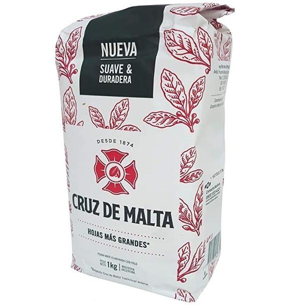 Cruz de Malta Yerba Mate Wide Leaf Wholesale Bulk Pack, 1 kg / 2.2 lb ea (6 count per pack)
