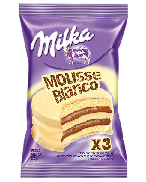 Milka Alfajor Triple White Chocolate with Chocolate Mousse, 55 g / 2 oz (pack of 6)