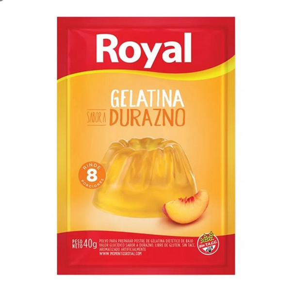 Royal Peach Ready to Make Jelly Gelatina Durazno Jell-O, 8 servings per pouch 40 g / 1.41 oz (box of 8 pouches)