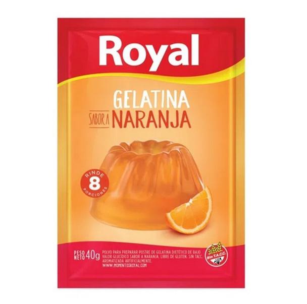 Royal Orange Ready to Make Jelly Gelatina Naranja Jell-O, 8 servings per pouch 40 g / 1.41 oz (box of 8 pouches)