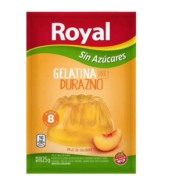 Royal Peach Ready to Make Light Jelly Gelatina Durazno Sin Azúcares Jell-O, 8 servings per pouch 25 g / 0.88 oz (box of 8 pouches)