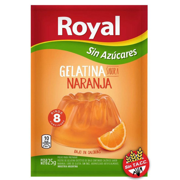 Royal Orange Ready to Make Light Jelly Gelatina Naranja Sin Azúcares Jell-O, 8 servings per pouch 25 g / 0.88 oz (box of 8 pouches)