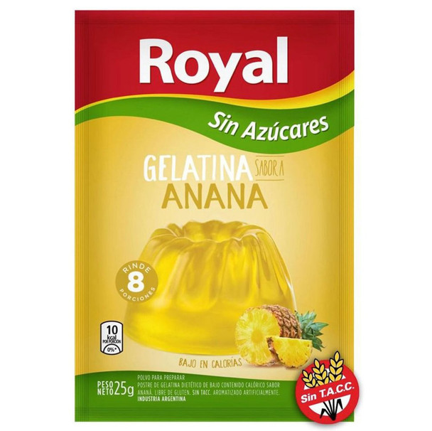Royal Pineapple Ready to Make Light Jelly Gelatina Ananá Sin Azúcares Jell-O, 8 servings per pouch 25 g / 0.88 oz (box of 8 pouches)