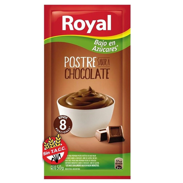 Royal Chocolate Ready to Make Light Dessert Low Sugar, 8 servings per pouch, 50 g / 1.76 oz (box of 6 pouches)