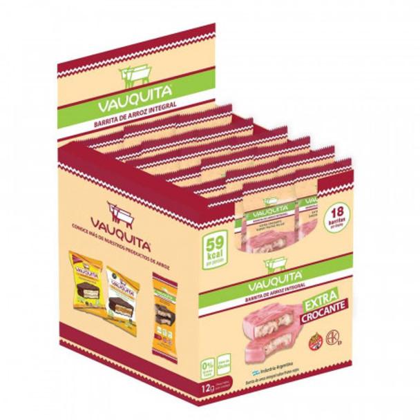 Vauquita Barritas de Arroz Frutos Rojos Wholegrain Rice Bar Red Berries Flavor, 12 g / 0.42 oz (box of 18 bars)