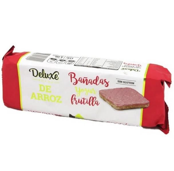 Deluxe Galletas De Arroz Bañadas Strawberry Yoghurt Covered Rice Cookies, 115 g / 4.06 oz (pack of 3)