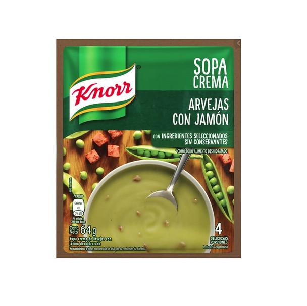 Knorr Sopa Crema Arvejas con Jamón Cream Soup Powder Ham & Peas Flavor, 4 servings per pouch, 64 g / 2.25 oz (pack of 3)
