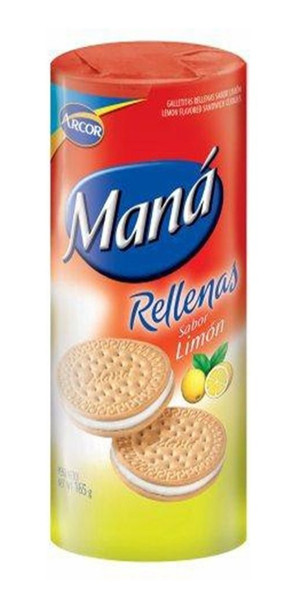 Maná Rellenas Limón Thin Sweet Cookies Lemon Filling Flavor, 165 g / 5.8 oz (pack of 3)