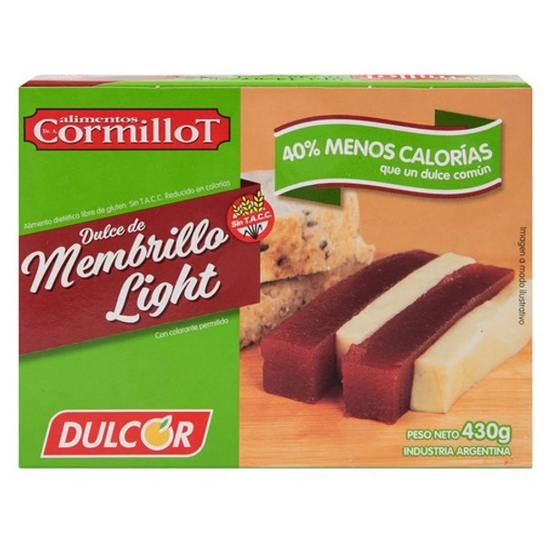 Dulcor Dulce de Membrillo Light Quince Jelly 40% Less Fat Sealed Bar for Desserts, Cheese and Cakes, 500 g / 1.1 lb