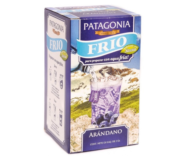 Patagonia Finest Tea Frío for Cold Tea Arándano Blueberry Flavor Sweetened with Stevia  (box of 20 bags)