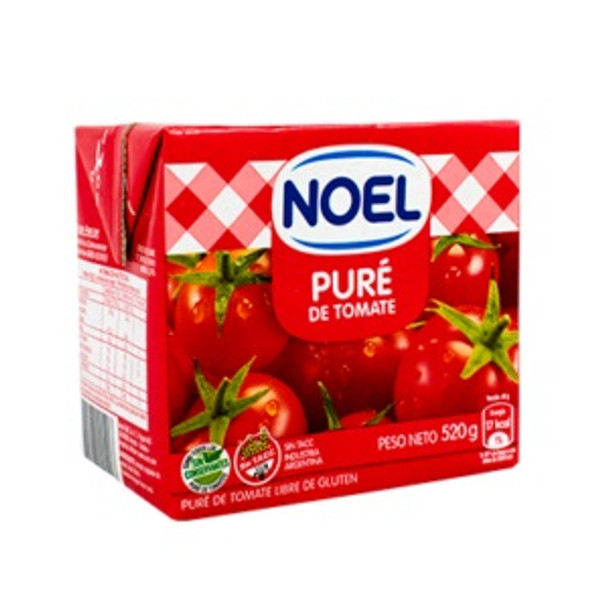 Noel Puré de Tomate Tomato Puree Sauce No Preservatives Added Gluten Free, 520 g / 1.15 lb Tetra-brick