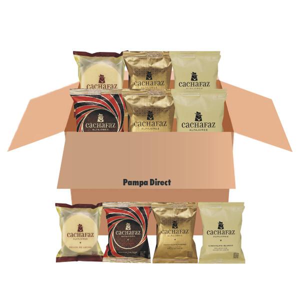 Selection Box Alfajores Cachafaz - Milk Chocolate with Chocolate Mousse, White Chocolate with Dulce de Leche, Dark Chocolate with Dulce de Leche & Cornstarch with Grated Coconut and Dulce de Leche (6 units)